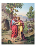 The Parting of David and Jonathan, Illustration from a Catechism, C.1860 Giclee Print by Eugene Ronjat