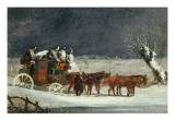 Coaching Scene: the London to Dover Mail in Winter Giclee Print by Henry Thomas Alken