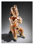Polychrome Two-Part Effigy Vessel, Perhaps an Incense Burner Giclee Print by Mayan