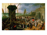 A View of Antwerp Harbour with the Kraanenhoofd and the Werf Gate, 1608 Giclée-Druck von Sebastian Vrancx