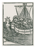 St. Brendan and the Siren, Illustration from 'The Voyage of St. Brendan', 1499 Giclee Print by  German School