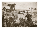 How the Danes Came Up the Channel a Thousand Years Ago Giclee Print by Herbert Alfred Bone