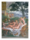 Cupid and Psyche with their Daughter Voluptuousness, Waited on by Ceres Giclee Print by Romano