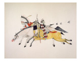 Red Walker and a Companion Fleeing from Pursuing Crow Indians Premium Giclee Print by  Kills Two