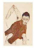 Self Portrait in a Jerkin with Right Elbow Raised, 1914 Giclee-vedos tekijänä Schiele