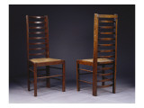 Two Ladder Back Chairs, for Miss Cranston's Tea Rooms, Glasgow, C.1903 Giclee Print by Charles Rennie Mackintosh