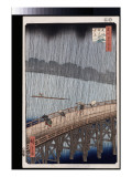 Ohashi, Sudden Shower at Atake, from the Series 'One Hundred Views of Famous Places in Edo' Giclee Print by Ando Hiroshige
