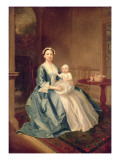 Portrait of a Lady of the Lister Family and Child Giclee Print by Arthur Devis