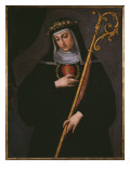 St. Gertrude the Great Carrying the Sacred Heart of Jesus Giclée-tryk af Spanish School