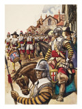 A Group of Pikemen of the New Model Army March into Battle Led by a Drummer Giclee Print by Peter Jackson