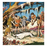 The Lost Boys' Concern for Injured Wendy, Illustration from 'Peter Pan' by J.M. Barrie Giclee Print by Nadir Quinto