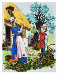 Jack Returns Home with a Bag of Gold, Illustration from 'Jack and the Beanstalk', 1969 Giclee Print by English School
