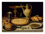 Still Life with a Tart, Roast Chicken, Bread, Rice and Olives Giclee Print by  Peeters