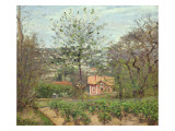The Cottage, or the Pink House - Hamlet of the Flying Heart, 1870 Stampa giclée di Camille Pissarro
