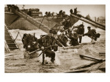 The First British Troops Disembark from the Specially Designed Landing Ladders Giclee Print by  English Photographer