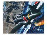 Japanese Suicide Attack on American Aircraft Carrier Stampa giclée di Wilf Hardy