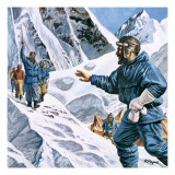 News of the Conquest of Everest Rang around the World Giclee Print by  Payne