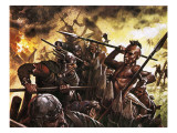 Leif Ericsson&#39;s Men Being Attacked by Indians Giclee Print by Oliver Frey