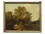 A Wooded Landscape with Faggot Gatherers by a Path, a White Horse Tethered Beyond Giclee Print by Thomas Gainsborough