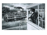 Samuel Clemens - Mark Twain - at Work on the Mississippi Giclee Print by Paul Rainer