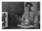 Henri Gaudier-Brzeska with His Sculpture 'Bird Swallowing Fish' in Kettle's Yard Giclee Print by  English Photographer