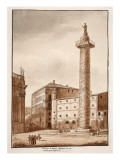 Trajan's Column, Cleared and Cordoned Off by Sixtus V, 1833 Giclee Print by Agostino Tofanelli
