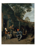 Peasants Smoking and Feasting Outside a Tavern, 1676 Giclee Print by Adriaen Jansz. Van Ostade