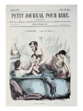 Scorching Heat: the Family Bath, Front Cover of 'Le Petit Journal Pour Rire', C.1860 Giclee Print by  Grevin
