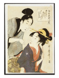 A Double Half-Length Portrait of a Beauty and Her Admirer Giclee Print by Kitagawa Utamaro