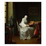 The Bird Organ or a Woman Varying Her Pleasures, 1751 Giclee Print by Jean-Baptiste Simeon Chardin