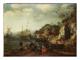 Coastal Scene with Fishermen and Huntsmen on the Shore, 1626 Giclee Print by Adam Willaerts