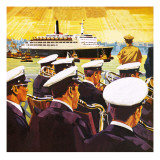The Qe2 Arriving in the Port of New York on Manhattan Island Giclee Print by  English School