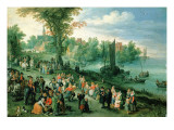 Wooded River Landscape with Peasants and Travellers Giclee Print by Jan Bruegel the Elder