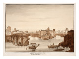 View of the Palatine or Senatorius Bridge, Called the Ponte Rotto, 1833 Giclee Print by Agostino Tofanelli