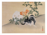Two Cats, Illustration from 'The Kokka' Magazine, 1898-99 Gicléedruk van  Japanese School