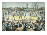 Tom Sayers V. John Heenan at Farnborough, England on 17th April, 1860 Giclee Print by  English School