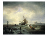 The Entrance to the Harbour at Hellevoetsluys, 1850 Premium Giclee Print by Andreas Achenbach