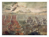 Battle of Lepanto. Victorious Ships Entering the Port of Messina Giclee Print by  Spanish School