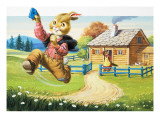 Rabbit Running from Wolf's House, Illustration from 'Brer Rabbit' Giclee Print by Virginio Livraghi