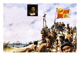 Columbus Arriving in Watling Island in the Bahamas Giclee Print by Oliver Frey