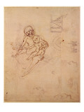 Studies for a Virgin and Child and of Heads in Profile and Machines, C.1478-80 Giclee Print by  Leonardo da Vinci