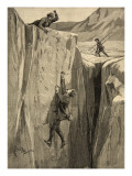 A Tourist Hanging in a Crevasse in the Alps, from 'Le Petit Parisien', 23rd August 1891 Giclee Print by Beltrand and Clair-Guyot, E. Dete