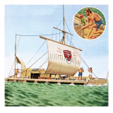The Voyage of the Kon-Tiki, with Thor Heyerdahl Giclee Print by John Keay