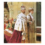 King George V in Procession with Queen Mary During the 1911 Durbar Giclee Print by Fortunino Matania