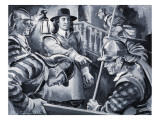 Oliver Cromwell and His Roundheads Search a House for Royalists Giclee Print by Paul Rainer