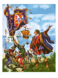 Christopher Columbus Planting the Spanish Royal Standard on the Newly Found Land of America Giclee Print by Peter Jackson