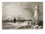 South Wall Lighthouse with Howth Hill in the Distance, Dublin Premium Giclee Print by William Henry Bartlett
