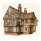 The Wonderful Story of Britain: Building a Tudor House Giclee Print by Peter Jackson