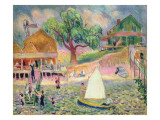 The Green Beach Cottage, Belport, Long Island Premium Giclee Print by William James Glackens