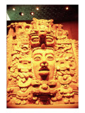 Detail from a Temple Wall with the Head of a Sun God Giclee Print by Mayan
